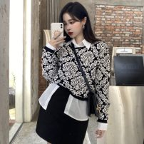 Fashion suit Winter 2020 S. M, l, average size Black skirt, white shirt, color matching sweater #22863 51% (inclusive) - 70% (inclusive) wool
