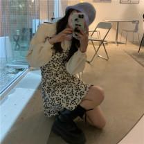 Dress Spring 2021 White, black Average size Miniskirt singleton  Long sleeves commute Crew neck High waist Decor Socket bishop sleeve 18-24 years old Korean version 51% (inclusive) - 70% (inclusive) cotton