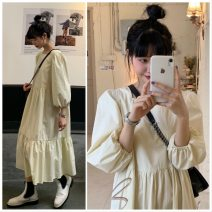 Dress Spring 2021 Apricot, black Average size longuette singleton  Long sleeves commute Crew neck High waist Solid color Socket other 18-24 years old Type A Korean version 51% (inclusive) - 70% (inclusive) cotton