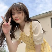 Dress Summer 2021 Average size 2588 apricot one size fits all , Goose yellow floral skirt Mid length dress Two piece set Sleeveless commute square neck High waist Decor Socket other straps 18-24 years old Korean version 31% (inclusive) - 50% (inclusive) cotton