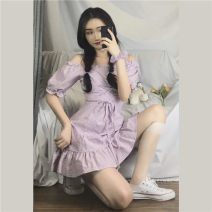 Dress Spring 2020 Picture color Average size Middle-skirt singleton  Short sleeve Sweet One word collar High waist lattice Socket other other Breast wrapping 18-24 years old C289 31% (inclusive) - 50% (inclusive) other Mori