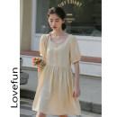 Dress Summer 2021 Apricot, haze blue S,M,L Middle-skirt singleton  Short sleeve commute Hood Loose waist Solid color Socket routine Korean version cotton