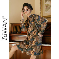 shirt Brown long S,M,L Spring 2020 other 51% (inclusive) - 70% (inclusive) Long sleeves commute Medium length square neck Single row multi button routine Straight cylinder Retro printing