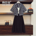 Women's large Summer 2021 Three piece jacket with suspender skirt L XL 2XL 3XL 4XL Other oversize styles Three piece set commute easy moderate Socket Short sleeve lattice Korean version Polo collar routine Three dimensional cutting routine 212111077ABC Beauty trends 25-29 years old Button