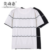 Women's large Summer 2021 Black and white XL [small average] 2XL [average] 3XL [big average] T-shirt singleton  commute easy moderate Socket Short sleeve stripe Korean version Crew neck routine Three dimensional cutting routine Beauty trends 25-29 years old Three dimensional decoration