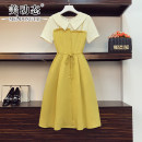 Women's large Summer 2021 yellow L XL 2XL 3XL 4XL Dress singleton  commute easy moderate Socket Short sleeve Solid color Korean version Polo collar Three dimensional cutting routine Beauty trends 25-29 years old Button 96% and above Medium length Polyester 100% Pure e-commerce (online only)