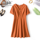 Women's large Summer 2021 Brick red L XL 2XL 3XL 4XL Dress singleton  commute easy moderate Socket Short sleeve Solid color Korean version V-neck Three dimensional cutting routine Beauty trends 25-29 years old Button 51% (inclusive) - 70% (inclusive) Medium length Pure e-commerce (online only)