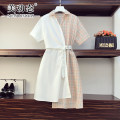 Women's large Summer 2021 Light pink light green XL 2XL 3XL 4XL 5XL Dress singleton  commute easy moderate Socket Short sleeve lattice Korean version Polo collar polyester Three dimensional cutting routine Beauty trends 25-29 years old Button 96% and above Medium length Polyester 100% bow