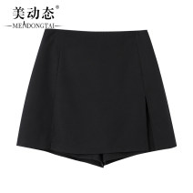 Women's large Summer 2021 black L XL 2XL 3XL 4XL 5XL trousers singleton  commute easy moderate Solid color Korean version Three dimensional cutting Beauty trends 25-29 years old zipper 96% and above Short skirt Polyester 100% Pure e-commerce (online only) shorts
