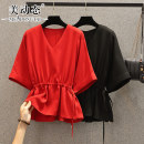 Women's large Summer 2021 Black red L XL 2XL 3XL 4XL shirt singleton  commute easy Socket Short sleeve Solid color Korean version V-neck routine Three dimensional cutting routine HS20X8131 Beauty trends 25-29 years old 96% and above Polyester 100% Pure e-commerce (online only)