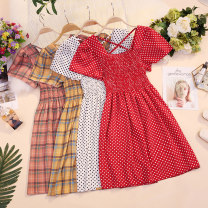 Dress Summer 2020 Average size Mid length dress singleton  Short sleeve commute High waist Dot Socket A-line skirt routine Others 18-24 years old Type A Korean version 81% (inclusive) - 90% (inclusive) other