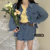 Fashion suit Spring 2021 S. M, average size Denim shirt, denim skirt, yellow T-shirt 18-25 years old 96% and above