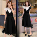 Nursing clothes black M,L,XL,2XL other Socket summer Sleeveless Medium length lady Dress Solid color Side opening Chiffon