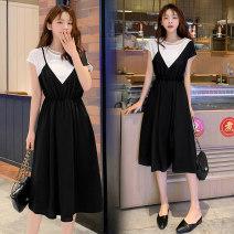 Nursing clothes black M,L,XL,2XL other Socket summer Sleeveless Medium length lady Dress Solid color Side opening Chiffon