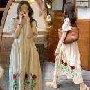 Dress Other / other elbow sleeve Korean version Medium and long term summer Crew neck Design and color [] Collect and join the free freight insurance for car purchase Apricot (Rose skirt) M,L,XL,XXL