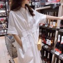 Dress white S,M,L,XL,XXL leisure time Short sleeve Medium length summer Lapel Solid color Pure cotton (95% and above) 6.9-1