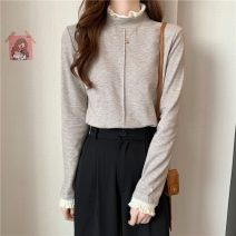 T-shirt Apricot, grey, purple, green, black, grey, coffee Average size Winter 2020 Long sleeves Half high collar Straight cylinder Regular Lotus leaf sleeve commute polyester fiber 71% (inclusive) - 85% (inclusive) 18-24 years old Korean version youth Solid color 1207k Pleating