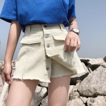 skirt Summer 2020 S,M,L,XL Off white, black Short skirt Versatile High waist Denim skirt Solid color Type A 18-24 years old More than 95% Denim Other / other cotton Tassels, pockets, beads, buttons