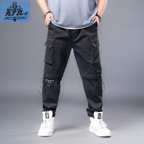 Casual pants Ninety nine district Youth fashion E1-72739-bg92-487 white line tooling pants 2XL 3XL 4XL 5XL 6XL 7XL thin trousers Other leisure easy Micro bomb XIYESI-72739 summer Large size tide 2021 middle-waisted Little feet Polyester 100% Sports pants Pocket decoration washing Alphanumeric
