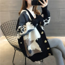 Wool knitwear Autumn of 2019 Average size Red, black, grey Long sleeves singleton  Cardigan other More than 95% Regular routine commute Straight cylinder V-neck routine Abstract pattern Single breasted Korean version QHY19Q085 18-24 years old Blue and white sheep Threaded button Other 100%