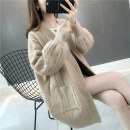 Wool knitwear Autumn of 2019 Average size Long sleeves singleton  Cardigan other More than 95% Regular routine commute easy V-neck routine Solid color Korean version 25-29 years old Blue and white sheep Pocket thread Other 100% Pure e-commerce (online only)