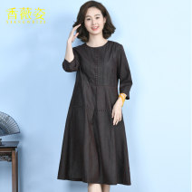 Dress Spring 2021 jacquard weave L XL 2XL 3XL Mid length dress singleton  elbow sleeve commute Crew neck middle-waisted Solid color zipper Big swing routine 40-49 years old Type X Xiang Weizi Korean version Pocket jacquard 2021H19020 More than 95% silk Mulberry silk 100% Exclusive payment of tmall