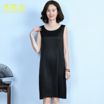 Dress Spring 2021 black L XL 2XL 3XL 4XL Mid length dress singleton  Sleeveless commute Crew neck middle-waisted Decor Socket A-line skirt 40-49 years old Type A Xiang Weizi Simplicity More than 95% silk Mulberry silk 100% Exclusive payment of tmall