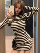 Dress Autumn 2020 Black stripe Short skirt Two piece set Long sleeves commute Crew neck High waist stripe Socket A-line skirt routine 25-29 years old Type A Encard / anthracene Korean version Hollowing out More than 95% other other Other 100%