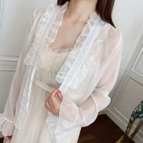 Lace / Chiffon Summer of 2019 Apricot pink white Average size Long sleeves Versatile Cardigan singleton  Regular Vee miny Other 100%