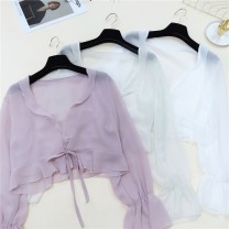 Lace / Chiffon Spring 2020 Apricot white pink Average size Long sleeves commute easy have cash less than that is registered in the accounts V-neck Solid color pagoda sleeve Vee miny Frenulum Other 100%