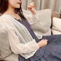 Lace / Chiffon Summer of 2019 white Average size Long sleeves Versatile Cardigan singleton  easy Regular Vee miny Other 100%