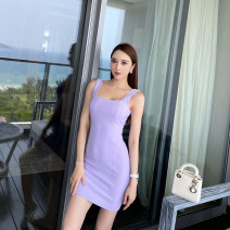 Dress Spring 2021 lavender XS,S,M,L Mid length dress singleton  Sleeveless commute square neck Solid color Type X Korean version L5770 91% (inclusive) - 95% (inclusive) polyester fiber