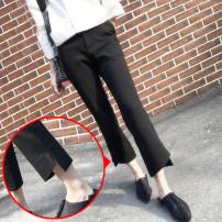 Women's large Summer 2020 black S < 95 Jin, m < 95-105 Jin, l < 105-115 Jin, XL < 115-125 Jin, 2XL < 125-140 Jin, 3XL < 140-160 Jin, 4XL < 160-180 Jin trousers singleton  commute easy thin Solid color Korean version polyester fiber Ninth pants