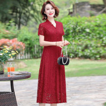 Dress Autumn 2020 L XL XXL 3XL 4XL Mid length dress singleton  Long sleeves commute V-neck middle-waisted Solid color zipper Big swing routine 40-49 years old Type A Kanglibo lady Hollow button More than 95% Lace polyester fiber Polyester 95% polyurethane elastic fiber (spandex) 5%