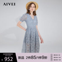Dress Summer 2021 French blue white S M L Mid length dress singleton  Short sleeve Sweet V-neck High waist Solid color zipper Princess Dress bishop sleeve 25-29 years old Type X AIVEI Stitching buttons More than 95% polyester fiber Polyester 100% princess