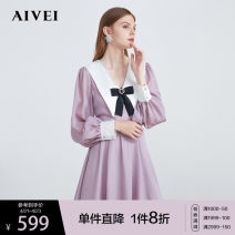 Dress Autumn 2020 Black Purple S M L Short skirt singleton  Long sleeves Sweet other High waist Solid color zipper other bishop sleeve 25-29 years old Type X AIVEI Bowknot stitching M0560178 More than 95% polyester fiber Polyester 100% college Same model in shopping mall (sold online and offline)