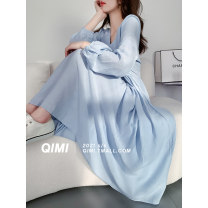 Dress Summer 2021 Blue Beige M L longuette singleton  Long sleeves commute V-neck High waist Solid color Socket A-line skirt routine 25-29 years old Type A Qimi Frenulum QM2104018PX 31% (inclusive) - 50% (inclusive) polyester fiber Polyester 50% Cotton 30% viscose (viscose) 20%