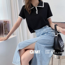 T-shirt Black and white M L Summer 2021 Short sleeve Polo collar easy Regular routine commute polyester fiber 31% (inclusive) - 50% (inclusive) 25-29 years old youth Solid color Qimi QM2104042PB Polyester 50% Cotton 30% viscose (viscose) 20% Pure e-commerce (online only)