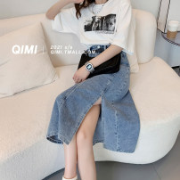 skirt Summer 2021 S M L XL Dark blue 4 days, light blue 4 days longuette commute High waist A-line skirt Solid color Type A 18-24 years old QM2103303DB 31% (inclusive) - 50% (inclusive) Qimi polyester fiber pocket Polyester 50% Cotton 30% viscose (viscose) 20% Pure e-commerce (online only)