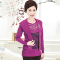 Middle aged and old women's wear Autumn of 2019 Rose purple 1301 malachite green 1301 grey 1301 grey 1301 camel 1301 rose purple 1302 grey 1302 fashion Knitwear / cardigan easy Fake two pieces stripe 40-49 years old Socket moderate Crew neck routine routine 19-1301 Spring is fine Diamond inlay other