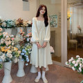 Dress Autumn 2020 Black, apricot Average size Mid length dress singleton  Long sleeves Sweet square neck High waist Socket A-line skirt puff sleeve 18-24 years old Type A Splicing 30% and below other college