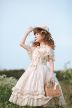 Dress Summer of 2019 Blue ribbon apron with Mediterranean color (in stock), green ribbon apron with sunset color (in stock), milk tea ribbon apron with milk tea color (in stock), interior (in stock) S,M,L singleton  Sweet 18-24 years old Fantastic Wind Lace More than 95% brocade cotton Lolita