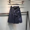 skirt Summer of 2019 S,M,L,XL,2XL Blue black Mid length dress Versatile High waist Irregular Solid color Type A Denim cotton Hand worn, pocket, button