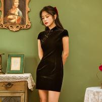 cheongsam Summer 2020 S,M,L,XL Black, red Short sleeve Short cheongsam Retro High slit daily Oblique lapel Piping