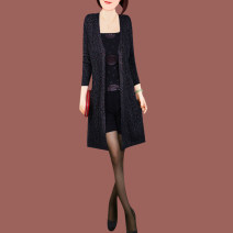 Middle aged and old women's wear Fall 2017 Colored silk fashion Knitwear / cardigan easy singleton  other 40-49 years old Cardigan thin Half open collar Medium length routine w804 AIXUKA other Other 100% 96% and above Pure e-commerce (online only)