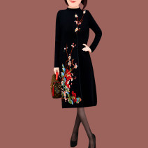 Dress Winter of 2018 Red and black S M L XL XXL XXXL XXXXL Mid length dress singleton  Long sleeves commute Crew neck Loose waist Big flower Socket other routine Others 35-39 years old AIXUKA Korean version Embroidery thread 2018dwy1 30% and below knitting other Cotton 20% wool 20% others 60%