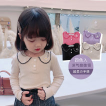 T-shirt Lavender purple raspberry red high grade black rice apricot Beautiful row 90cm 100cm 110cm 120cm 130cm 140cm female spring and autumn Long sleeves Lapel crew neck Korean version There are models in the real shooting nothing blending Solid color 0C024 Class B Spring 2021
