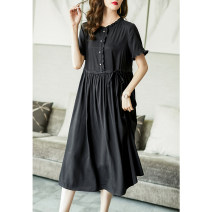 Dress Summer 2021 black S M L XL XXL XXXL Mid length dress singleton  Short sleeve commute Crew neck High waist Solid color Socket A-line skirt Lotus leaf sleeve Others 35-39 years old Type A Ajido lady Lace up button with ruffle A88027 30% and below Lycra Lycra Pure e-commerce (online only)