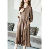 Dress Summer 2021 Decor S M L XL XXL XXXL Mid length dress singleton  three quarter sleeve commute Polo collar Loose waist Decor Single breasted A-line skirt routine Others 35-39 years old Type A Ajido lady Button A88017 More than 95% polyester fiber Polyester 100% Pure e-commerce (online only)
