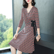 Dress Summer 2020 Black color M L XL XXL XXXL Mid length dress singleton  three quarter sleeve commute V-neck High waist other Socket A-line skirt routine Others 35-39 years old Type A Ajido lady Frenulum 30% and below other polyester fiber Exclusive payment of tmall